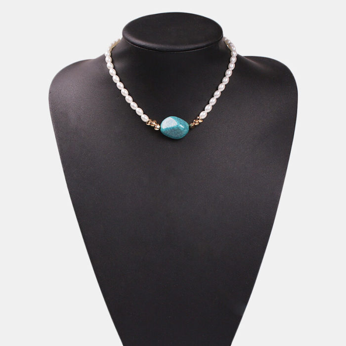 Vintage Pearl Turquoise Pendant Necklace Irregular Transparent Resin Necklace Ethnic Jewelry