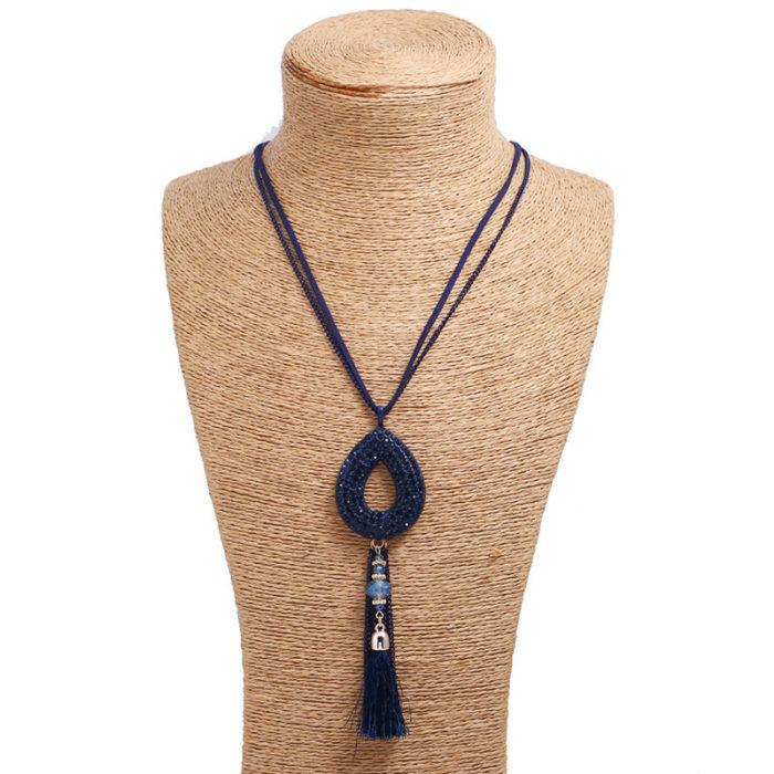 Vintage Pendant Long Necklace Oval Rhinestone Velvet Tassels Charm Necklace Ethnic Jewelry for Women