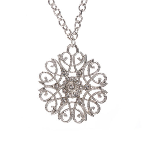 Vintage Pendant Necklace Antique SilverChain Hollow Flower Charm Necklace Ethnic Jewelry for Women