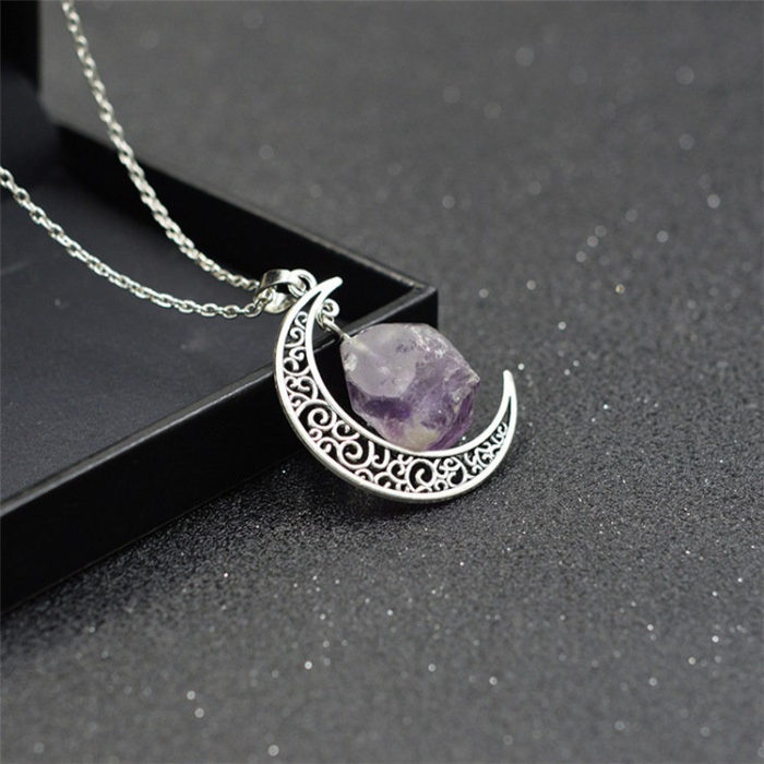 Vintage Pendant Necklace Crescent Moon Irregular Rock Chain Charm Necklace Ethnic Jewelry for Women