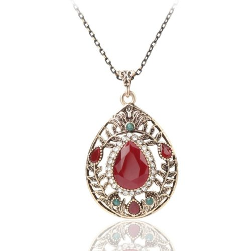 Vintage Pendant Necklace Hollow Leaf Red Gemstone Water Drop Charm Necklace Ethnic Jewelry for Women