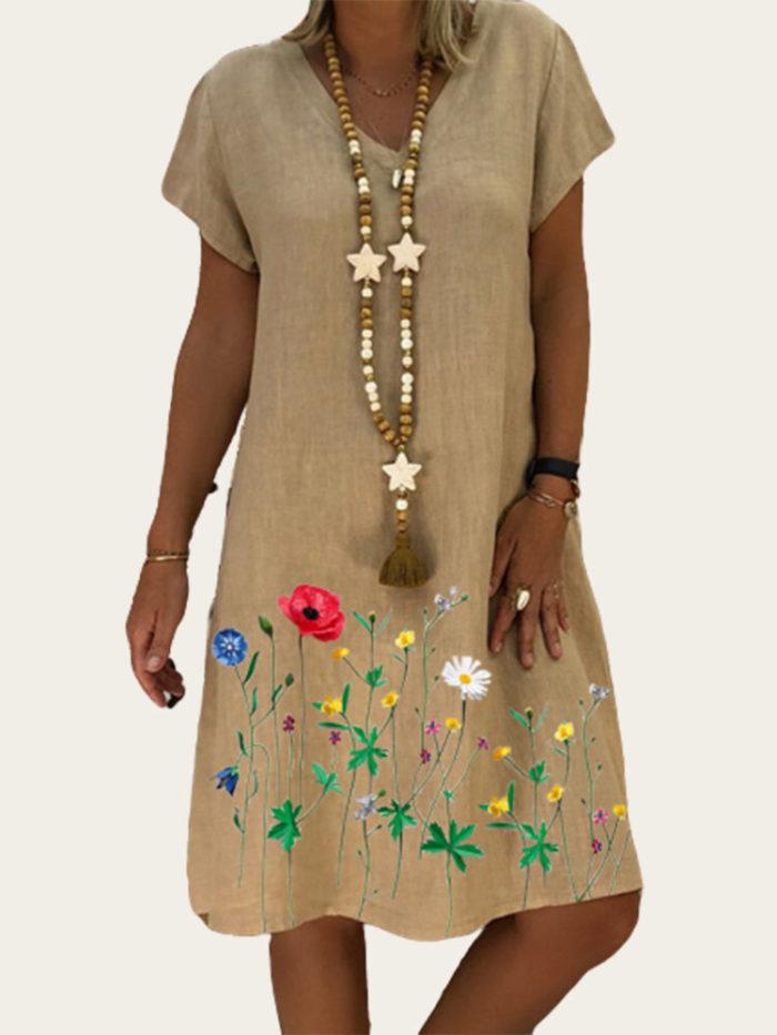 Vintage Print Short Sleeve V-neck Plus Size Dress