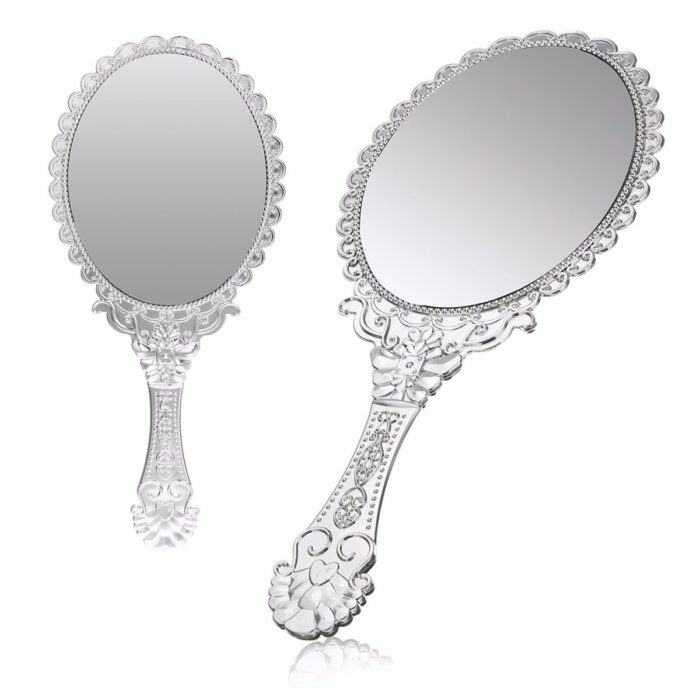 Vintage Repousse Silver Oval Makeup Floral Mirror Hand Held Cosmetic Mirrors