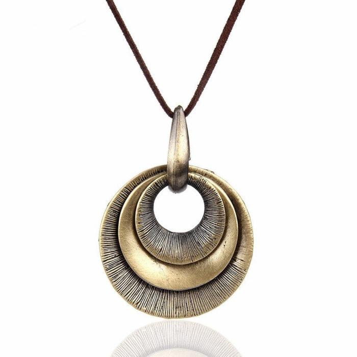 Vintage Round Geometric Pendant Antique Gold Necklaces Leather Long Necklaces for Women Men
