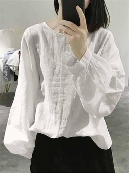 Vintage Solid Color Plain Long Sleeve Loose Blouse