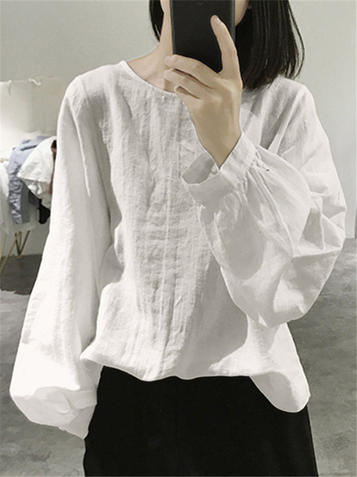 Vintage Solid Color Plain Long Sleeve Loose Blouse
