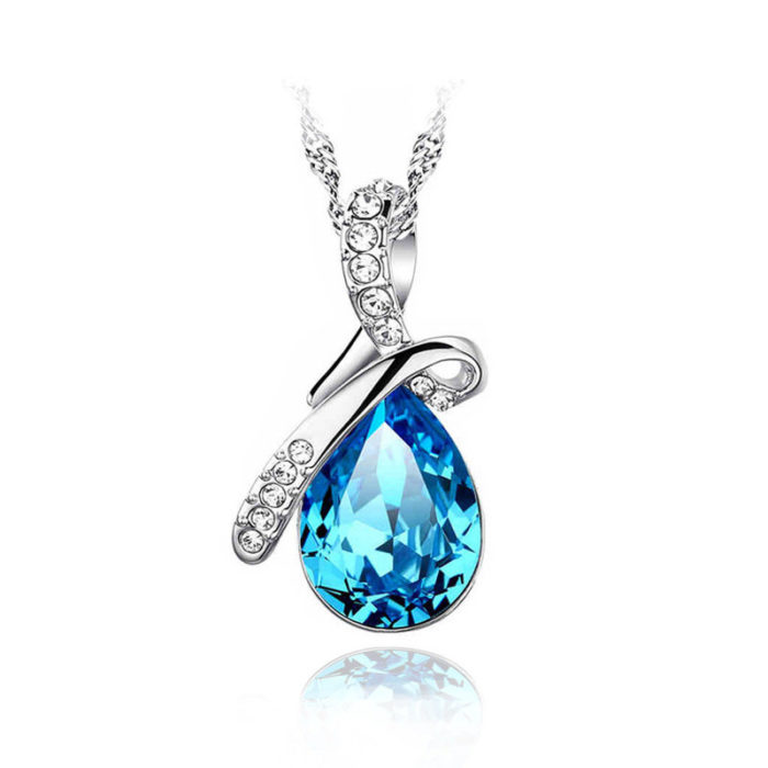 Water Drop Pear Cut Pendant Crystal Charm Necklaces for Women