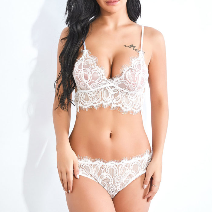 White Sexy Lingerie See Through Lace Sling Backless Bra And Panty Sets