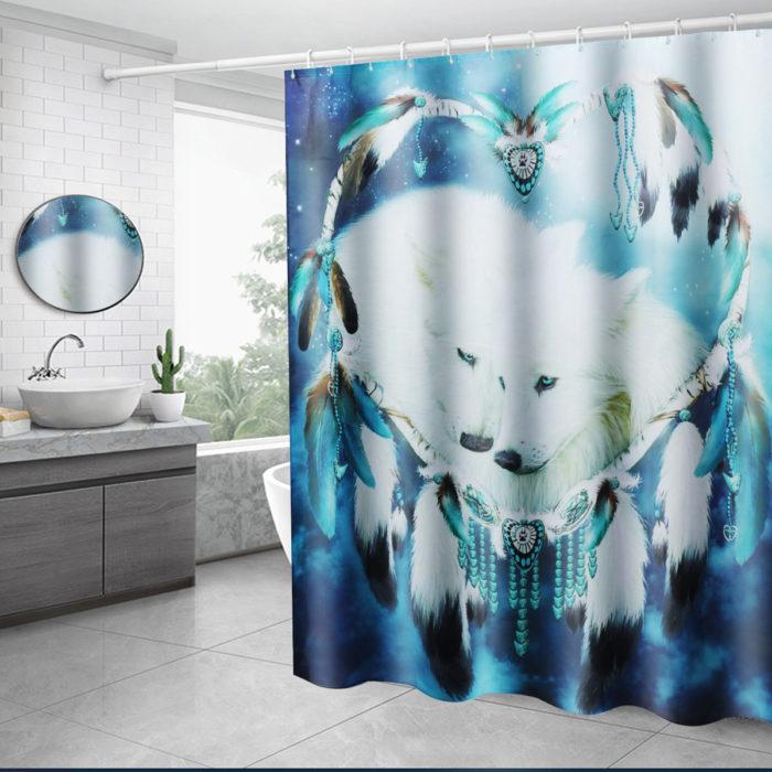 White Wolf Dream Catcher Bathroom Shower Curtain Lid Toilet Mat Cover Bath Floor Mat