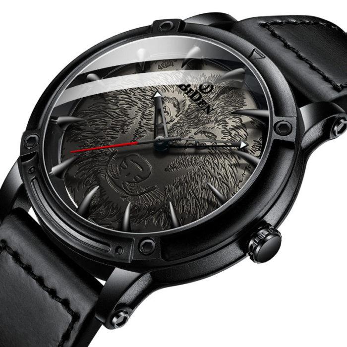 Wolf Dial Display Fashion Men Wrist Watch Analog Leather Band Quartz Watch