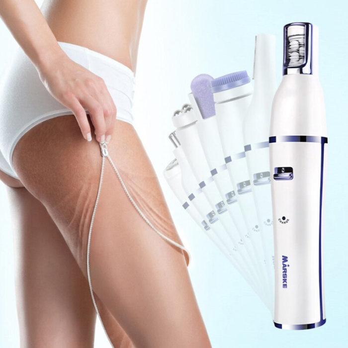 Women 6 In 1 Electric Epilator Face Cleansing Brush Body Hair Removal Replaceable Head Razor