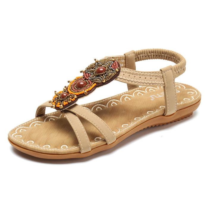 Women Bohemia Beach Beading Peep Toe Elastic Sandals