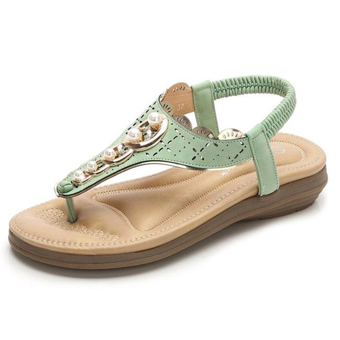 Women Bohemia Soft Pearl Flip Flops Flat Sandals