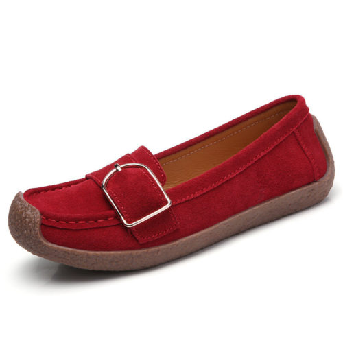 Women Buckle Decoration Comfy Soft Sole Casual Loafers