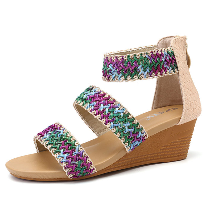 Women Casual Bohemia Braided Peep Toe Wedges Heel Sandals