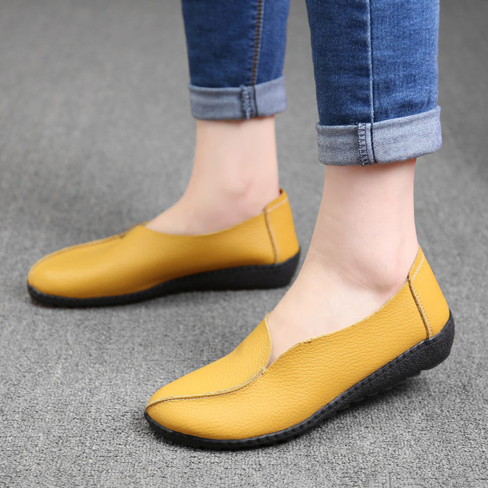 Women Casual Genuine Leather Solid Color Slip On Loafers
