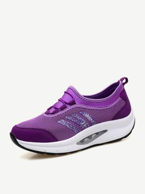 Women Casual Outdoor Splicing Slip On Rocker Sole Sneakers