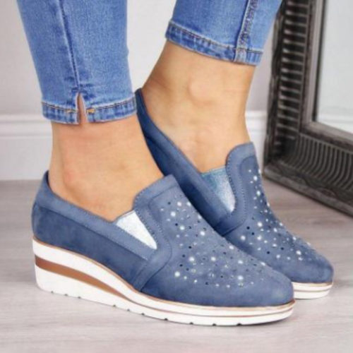 Women Casual Pointed Toe Hollow Slip On Wedges Loafers