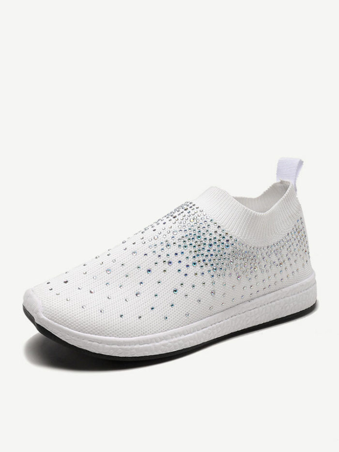Women Casual Running Sequined Mesh Sock Shoes Elastic Band Sneakers