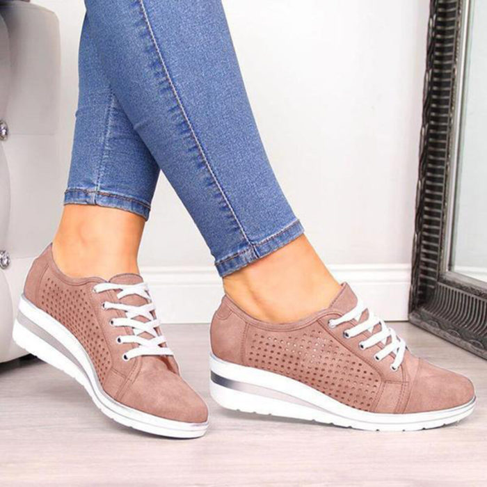 Women Casual Solid Color Round Toe Lace Up Wedges Loafers