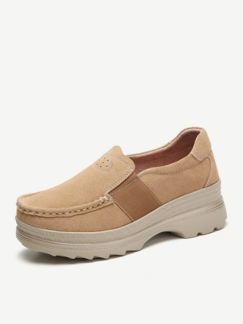 Women Casual Suede Slip On Platform Sneakers