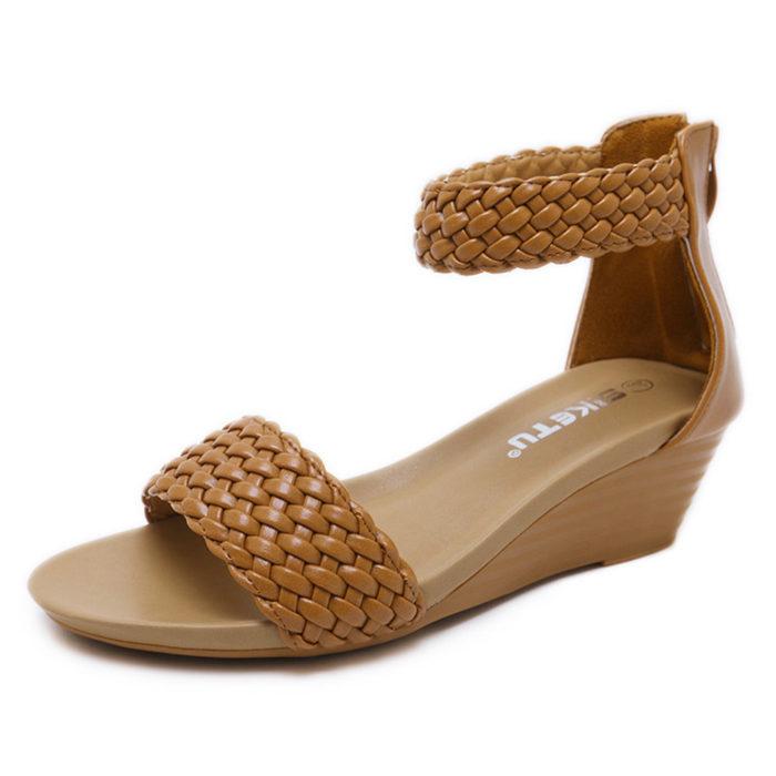 Women Casual Weave Zipper Wedges Heel Sandals