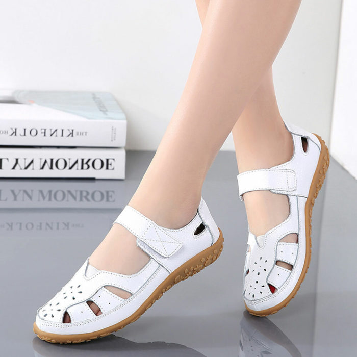Women Closed Toe Hook Loop Hollow Comfy Slip Resistant Casual Loafers