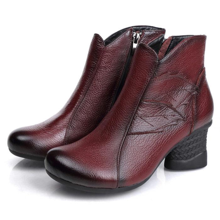 Women European Style Black Warm Lined Zipper Chunky Heel Ankle Boots