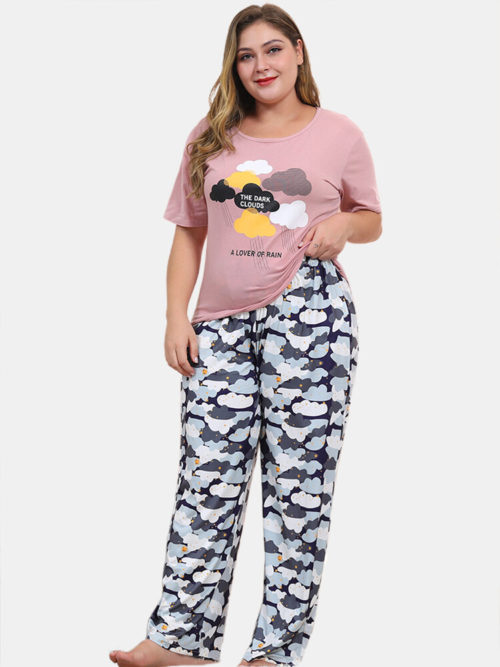 Women Pajamas Sets Plus Size Cloud Print Soft Sleepwear With Long Bottom
