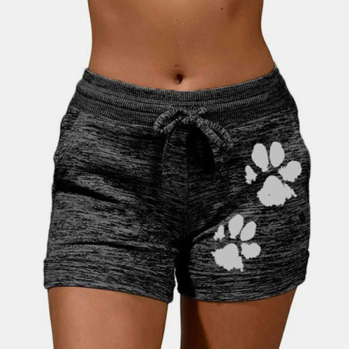 Women Plus Size Cotton Cat Paw Drawstring Breathable Yoga Sports Shorts