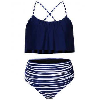 Women Plus Size Striped High Waisted Bikini Set Tankini