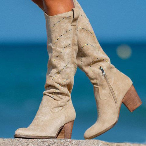 Women Plus Size Suede Rhinestone Decoration Slip Resistant Mid Calf Boots