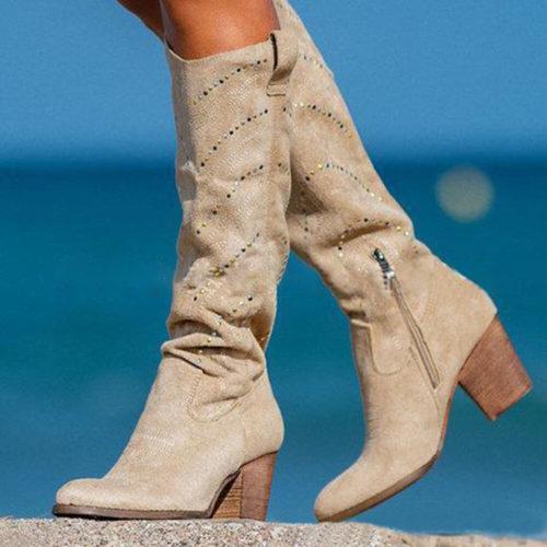 Women Plus Size Suede Rhinestone Decoration Slip Resistant Mid Calf Boots