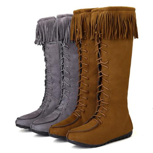 Women Retro Tassel Lace Up Long Knee High Flat Boots