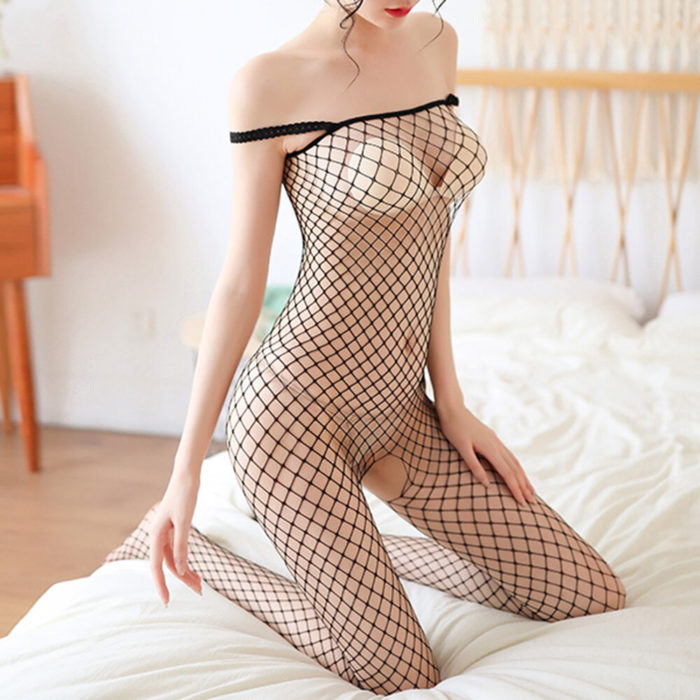 Women Sexy Lingerie Fishnet Open Crotch Off Shoulder See Through Bodystockings