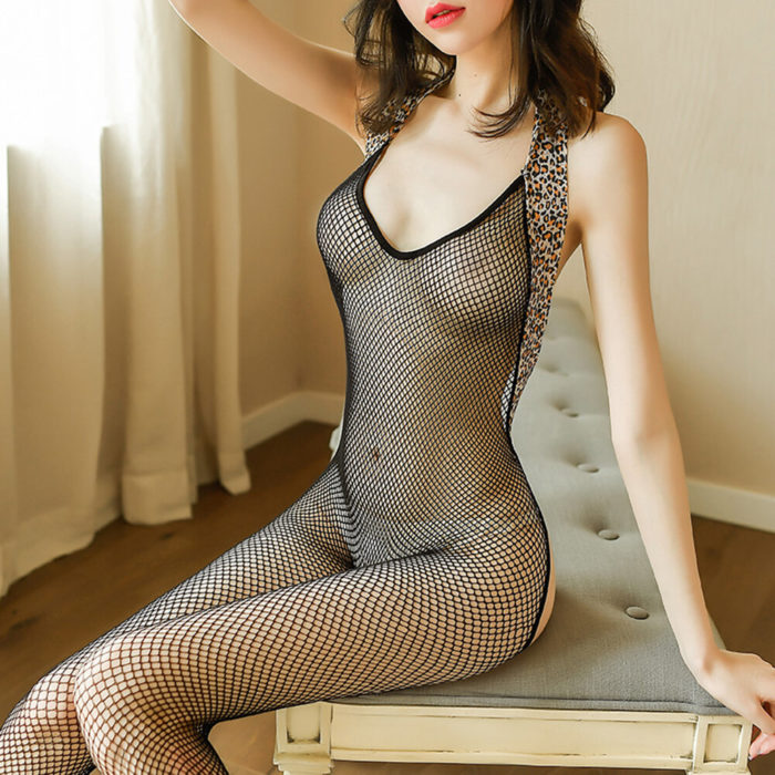 Women Sexy Lingerie Fishnet Transparent Halter Leopard Trim Open Crotch Backless Bodystockings