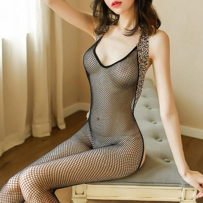 Women Sexy Lingerie Fishnet Transparent Halter Leopard Trim Open Crotch Backless Bodystockings