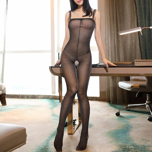 Women Sexy Lingerie Mesh Crotchless Flounce Straps See Through BodyStockings