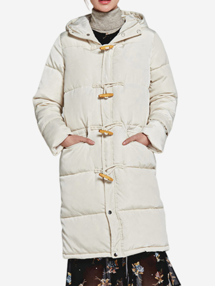 Women Solid Color Horn Button Mid-Long Hooded Cotton Coat
