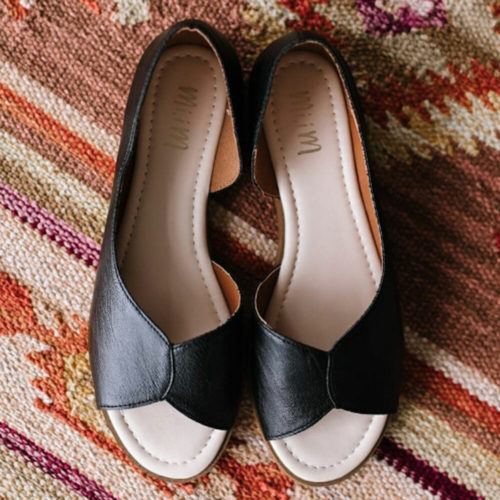 Women Solid Color Splicing Comfy Peep Toe Casual Slip On Flat Loafers