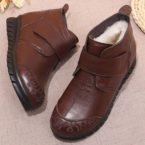 Women Solid Color Wool Leather Fur Lining Hook Loop Non Slip Boots