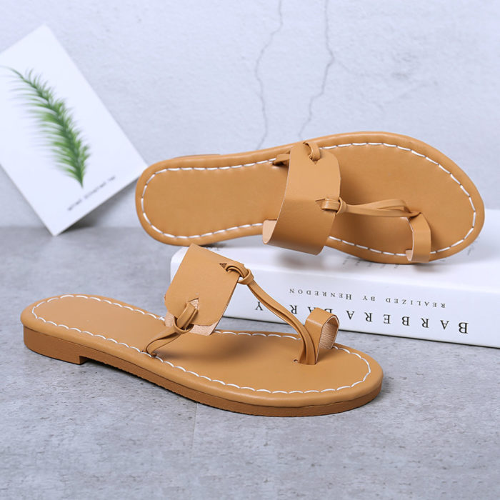 Women Summer Casual Lightweight Black Clip Toe Flat Slide Sandals