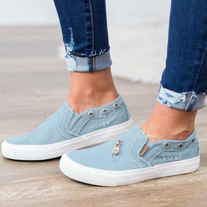 Women Zipper Loafers Denim Comfy Casual Slip On Flat Shoes