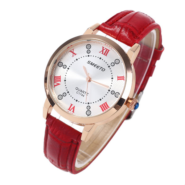 Women's Luxury Leather Watches Big Rome Number Rhinestones Waterproof Quartz Wrist Watch