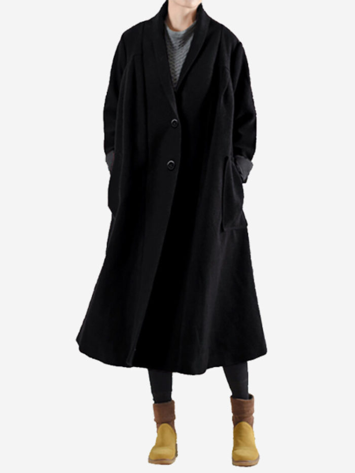 Womens Solid Color Turn-down Collar Button Long Sleeve Woolen Coat