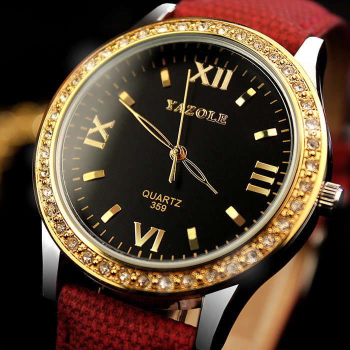 YAZOLE Women's Watches Diamond Gold Watches Luxury Quartz Leather Clock Watches for Women