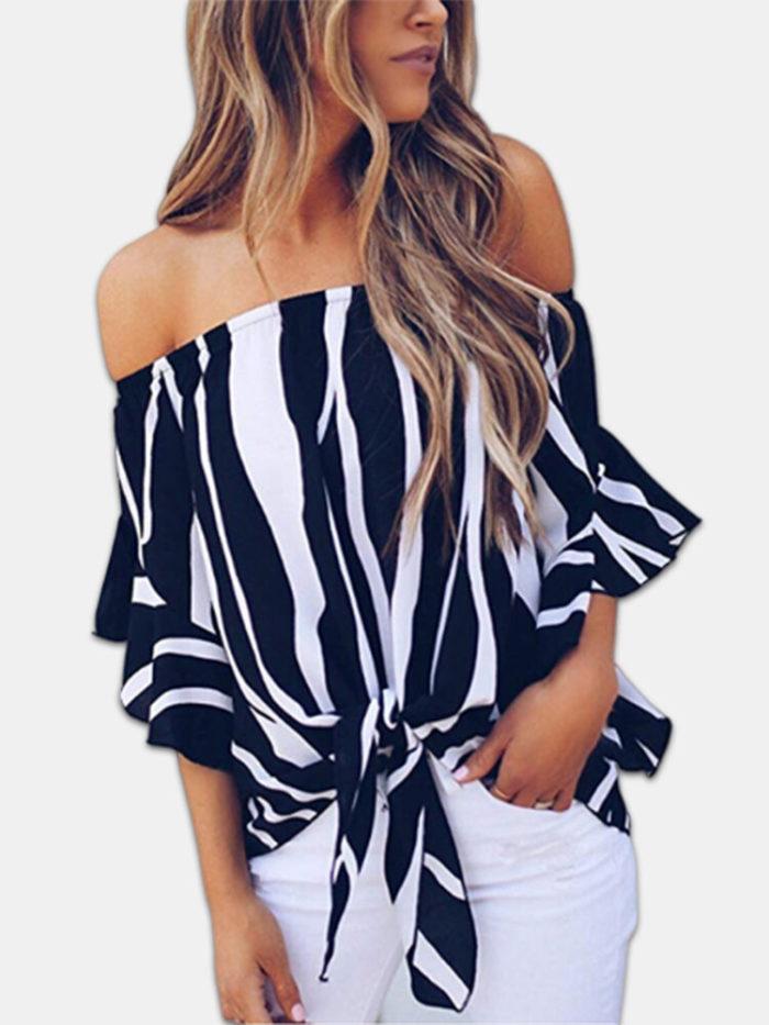 Zebra Print Knot Front Off Shoulder Plus Size Summer Blouse