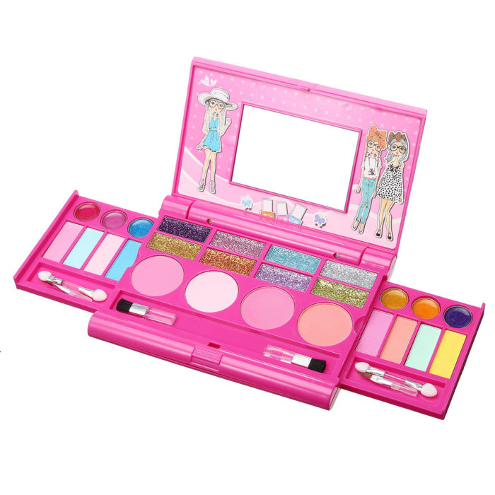 kids makeup kit For Kids Cosmetic Girls Kit Eyeshadow Lip Gloss Blushes Children's Day Gift