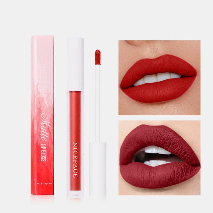 12 Color Matte Nude Lip Gloss Waterproof Lasting Moisturize Non-Stick Cup Women Makeup Lipstick