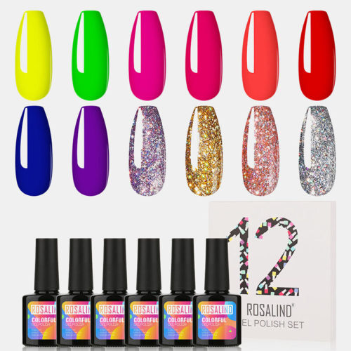 12Pcs Nail Polish Gel Kit Nails Art UV Lamp Solid Color Plant Nail Gel Nail Art Design Set
